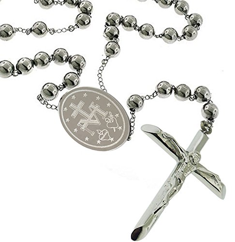Catholic - BenJunot USA Original Men Rosary Beads Pray Necklace Stainless Steel 8 MM Ball - 28 Inches - Medal - Crucifix