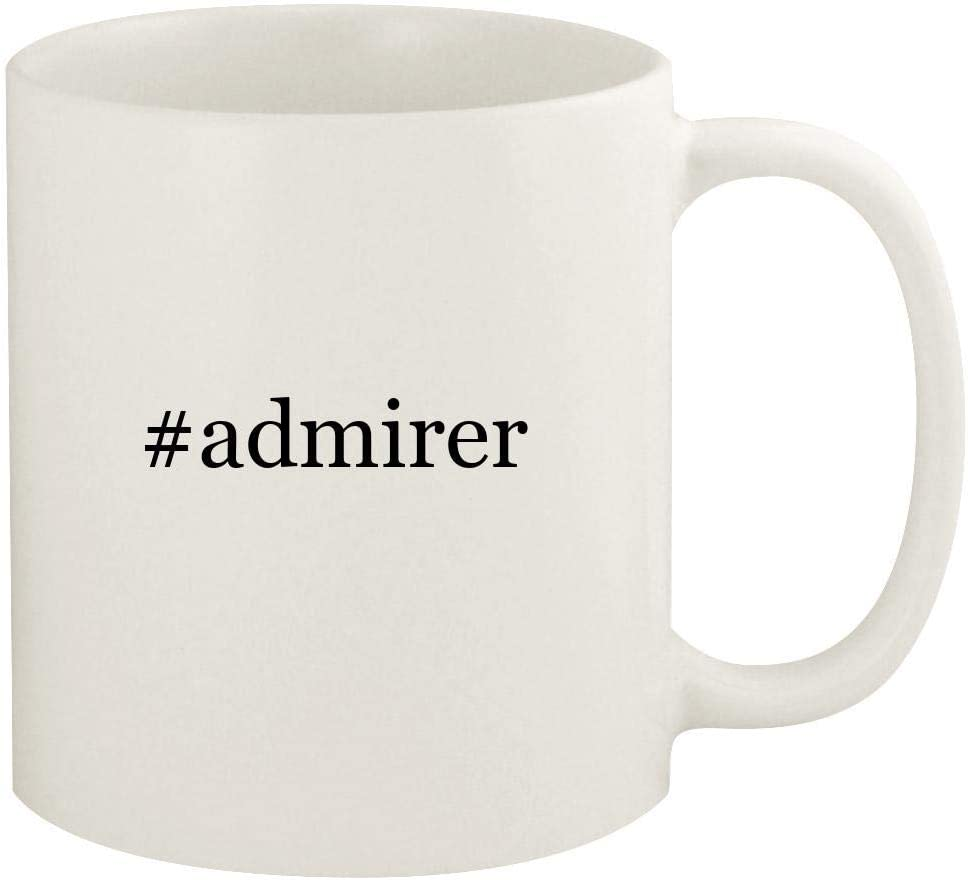 #admirer - 11oz Hashtag Ceramic White Coffee Mug Cup, White