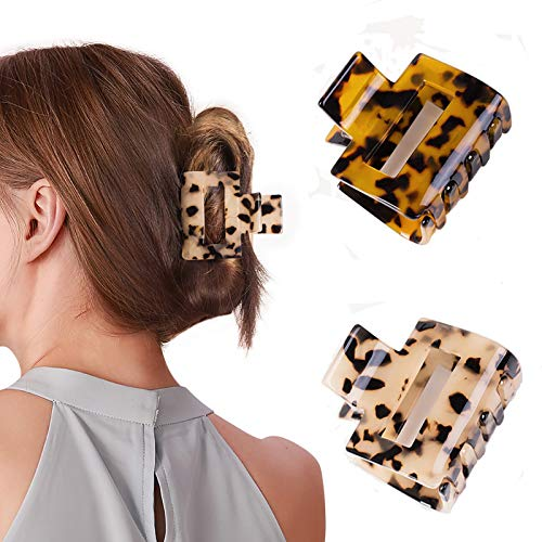 Gifeel Hair Claw Clips for Women, 2PCS Tortoise Shell Hair Clips ,Nonslip Claw Clip,Strong Hold Hair Clips Claw for Thin Hair ,Acrylic Hair Banana Barrettes ,Celluloid Leopard Print Hair Clips
