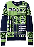 Seattle Seahawks Patches Ugly Crew Neck Sweater Extra Large