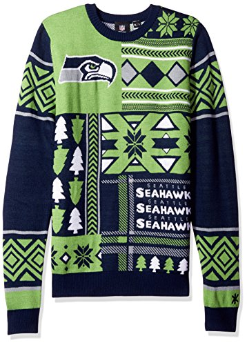 NFL Seattle Seahawks Patches Ugly Sweater, Green, Small
