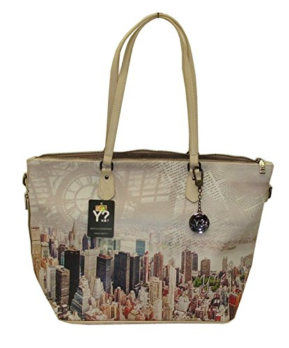 BORSA YNOT H397 NEW SHOPPING BAG GRANDE STAMPA MANHATTAN