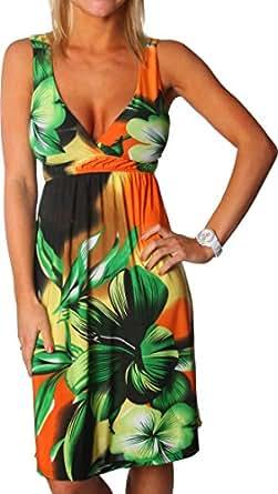 Alki'i Tropical Garden Print Casual Evening Party Cocktail Sun Dress - Orange L/XL