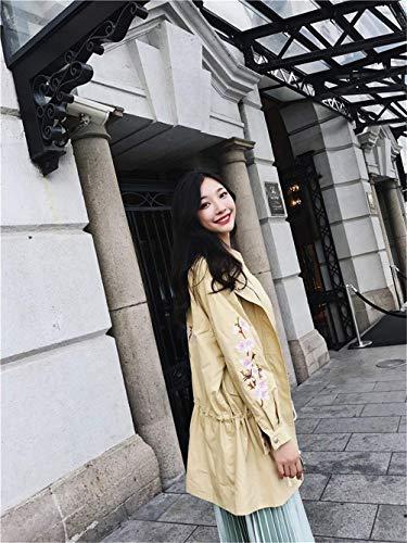 Prendas Moda Chaquetas Modernas Otoño Con Abrigos Manga Solapa Exteriores Khaki Cordón Outwear Cremallera Larga De Mujer Elegante Bordados qS8wE61