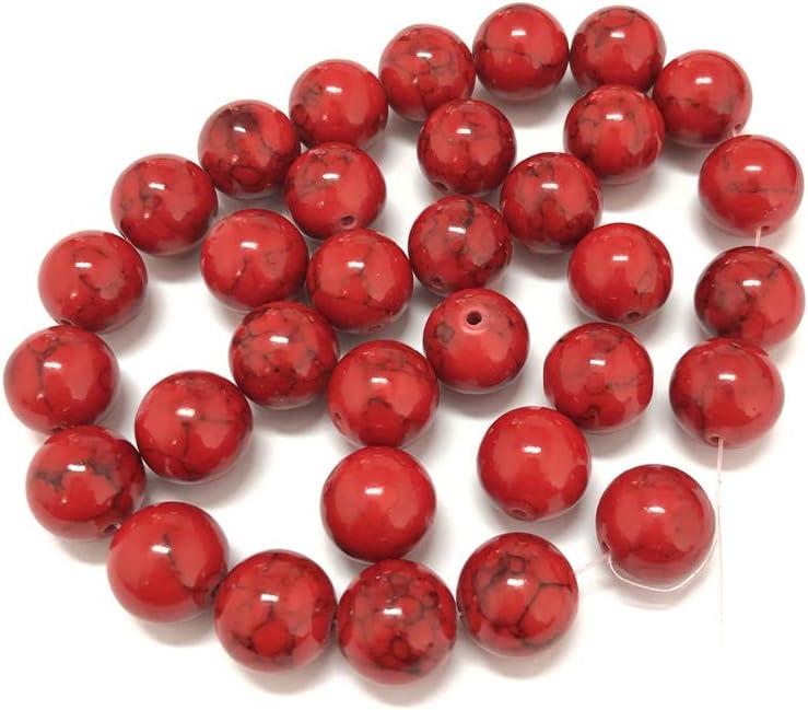 skyllc® 6mm Rojo Turquesa Perlas Redondas Sueltas Cuentas de Piedra Piedras Preciosas fabricación de Joyas para DIY Collares Pulseras Pendientes
