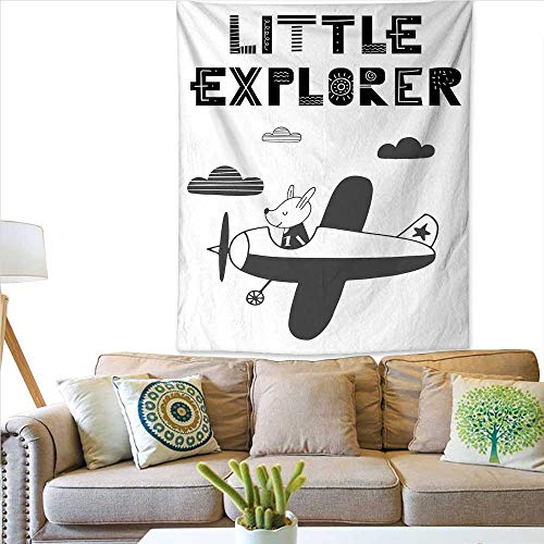 ExploreWall tapestryHand Drawn Bunny in a Plane Monochrome Arrangement Little Explorer QuoteColorful Tapestry 51W x 60L INCHBlack White