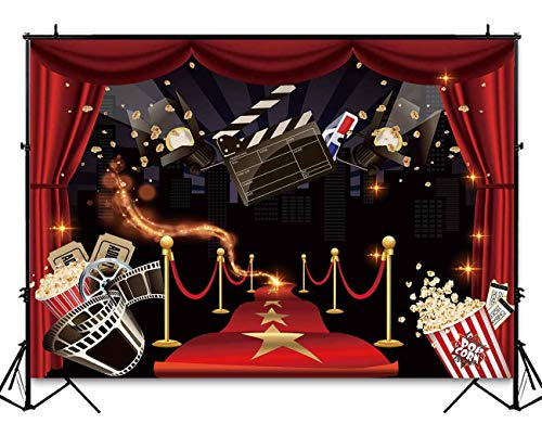 Funnytree 7x5ft Hollywood Party Backdrop Popcorn Movie Night Birthday Background Premiere Marquee Red Carpet Celebrity Banner Photobooth Decorations Photo Studio Props