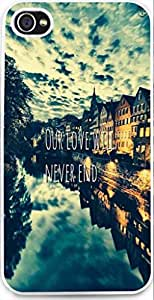 Iphone Case,Dseason Iphone 4S Hard Case **NEW** High Quality Unique Design christian quotes our love will never end