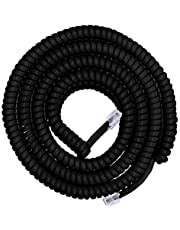 Power Gear Coiled Telephone Cord, 25 Feet, Phone Cord Works with All Corded Landline Phones, for Use in Home or Office, Black, 76139