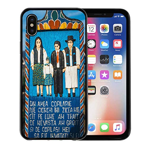 Emvency Phone Case for Apple iPhone Xs Case/iPhone X Case,Sapanta Romania July Wooden Crosses in The Famous Merry Soft Rubber Border Decorative, Black ()