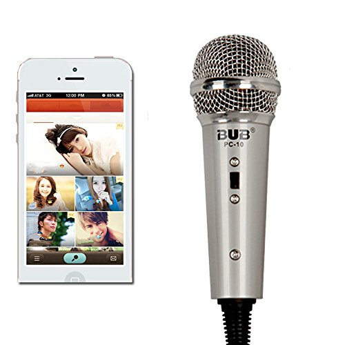 Megadream Portable Handheld Microphone Condenser Studio Wired Mic with Desktop Stand and 3.5mm Headphone Splitter Adapter for Telephone / Singing / Vocal / Skype / K Sing Voip / Karaoke - Grey by Megadream