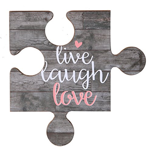 NIKKY HOME Live Laugh Love Vintage Wood Puzzle Piece Wall Sign with Quote (Laugh Live Love Plaques Decor)