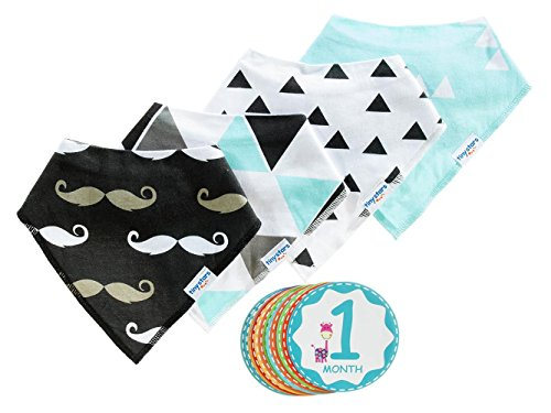 Baby Bandana Drool Bib Kit by Tiny Stars - 4 Pack of Boy Absorbent Cotton/Fleece Snap-On Bibs with 12 Baby Monthly Stickers. Great for Infant Boys and Girls - Great Baby Gift!
