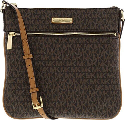 Logo Jacquard Messenger Bags - Michael Michael Kors Bedford Flat Crossbody, Brown