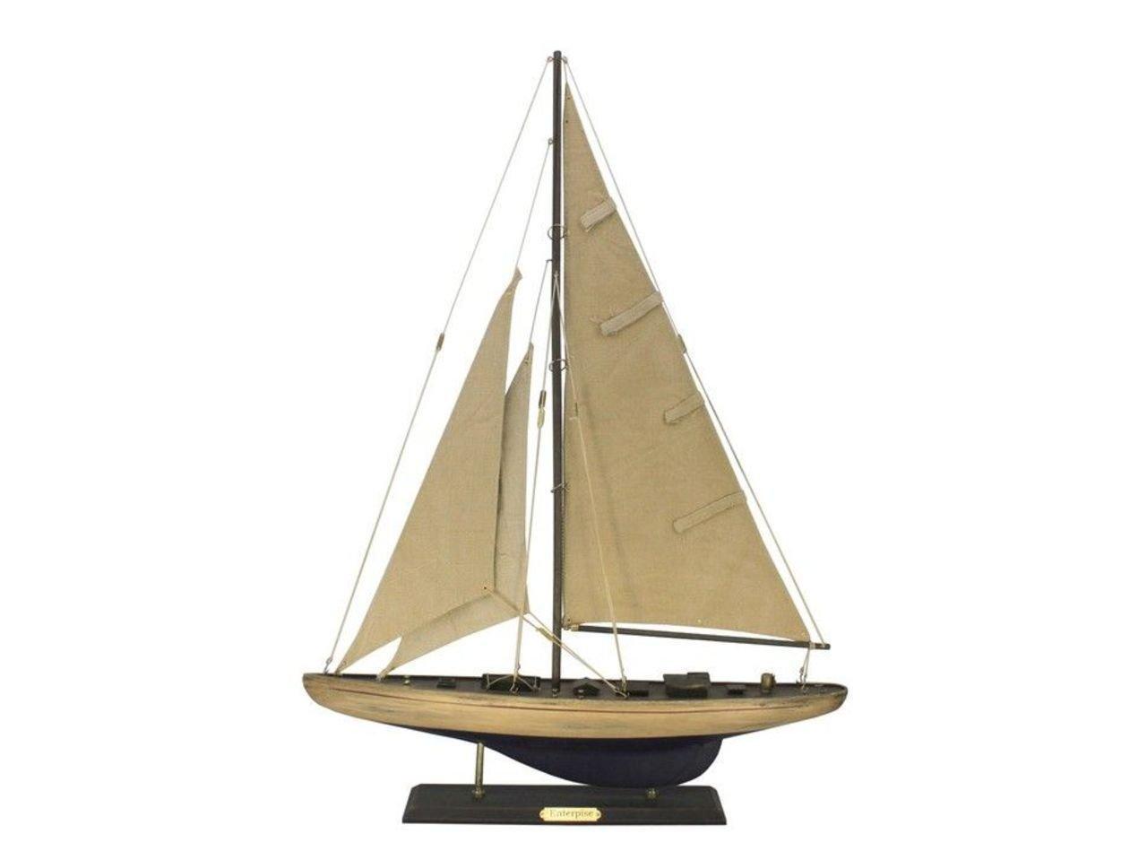 Hampton Nautical  Wooden Rustic Enterprise Sailing Yacht Limited 27''- Nautical Home Decorating - Nautical Gift Toy Figure