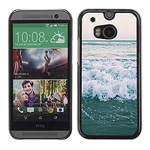 Cubierta de la caja de protección la piel dura para el HTC ONE M8 2014 - ocean horizon sea surf summer