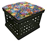 Black Utility Crate Storage Container Ottoman Bench Stool for Office/Home/School/Preschools with Your Choice of Seat Cushion Theme! (Colorful Fish)