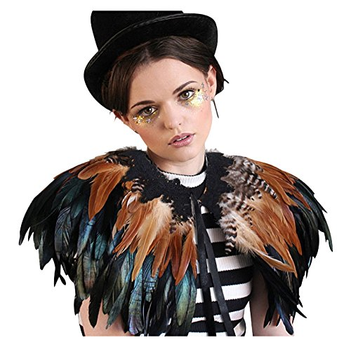 L'VOW Black Gothic Victorian Natural Feather Cape Shawl