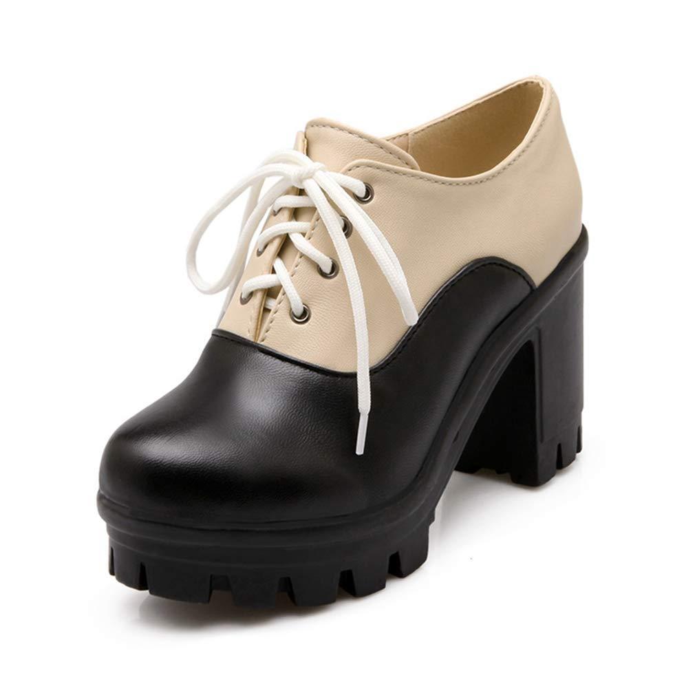 Beige-black Elsa Wilcox Women Lace Up Round Toe Two Tone Chunky High Heel Vintage Dress Oxford shoes Platform Oxford Pumps