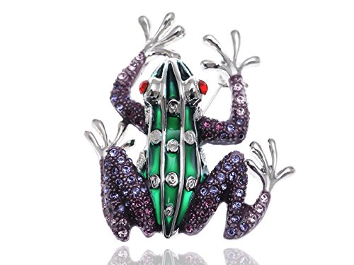 Alilang Unique Ruby Eyed Crystal Rhinestone Frog Prince Insect Animal Pin Brooch