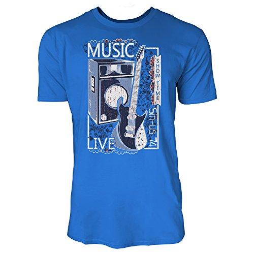 Sinus Art ® Herren T Shirt Live Music ( Royal_Blue ) Crewneck Tee with Frontartwork