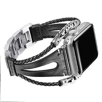 Secbolt Leather Bands Compatible Apple Watch Band Series 4 & 5 44mm, Series 3/2/1 42mm, Double Twist Handmade Vintage Natural Leather Bracelet Replacement Bracelet Straps Women