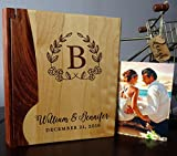 Personalized Wood Cover Photo Album, Custom Engraved Wedding Album, Style 105 (Maple & Walnut Cover)