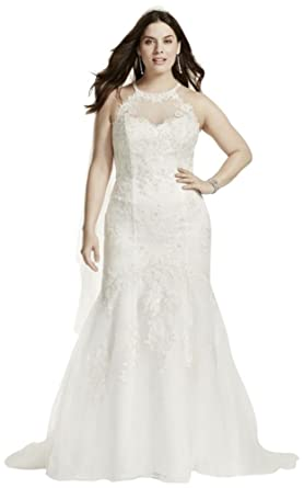 David\'s Bridal Jewel Illusion Halter Lace Plus Size Wedding Dress ...