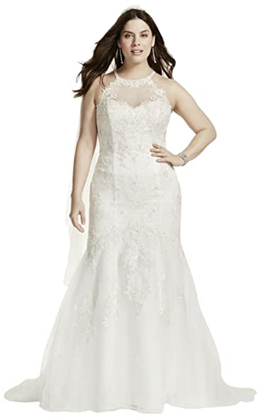 David\'s Bridal Jewel Illusion Halter Lace Plus Size Wedding Dress ...