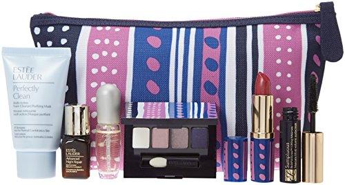 Estée Lauder Makeup Cosmetic Bag (Style-2 (Blue White Purple)) (Estee Lauder Makeup Travel Bag)