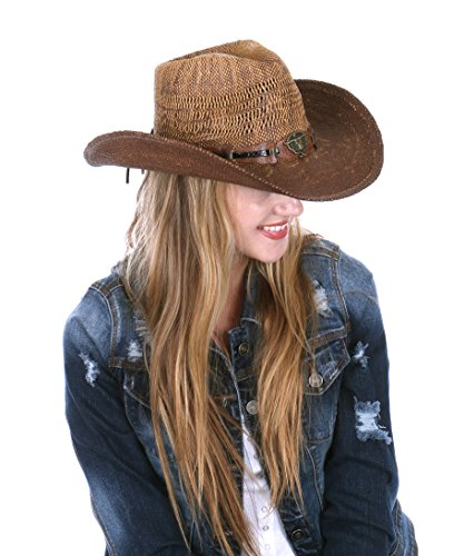 RufnTop Men's & Women's Western Vintage Style Cowboy Cowgirl Straw Hat w Band Décor(Bull 1)