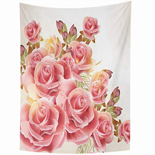Ahawoso Tapestry 60x90 Inch Beige Watercolor Border Cute Pink Roses Vintage Flower Marry Nature Floral Valentine Antique Pastel Wall Hanging Home Decor for Living Room Bedroom Dorm