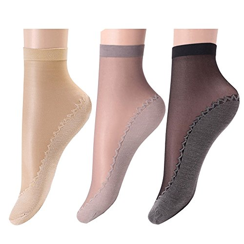 Wcysin 3 Pairs Women's Ankle High Sheer Wire Socks