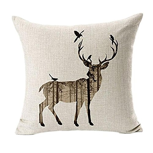 Sumilulu Deer Sofa Bed Home Decor Pillow Case Cushion Cover