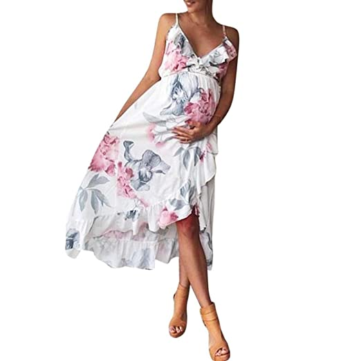 09c3238b30621 Maternity Dress, Womens Summer Casual Boho Floral Ruffles V-Neck Sling  Beach Dress for