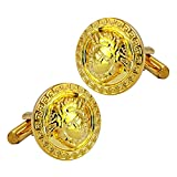 Luxury Gold Round Engraved Bullet Cufflinks Beautiful Greek Medusa Pattern Charming style