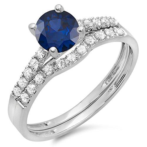14K White Gold Round Blue Sapphire & White Diamond Bridal Engagement Ring Set ( Size 6)