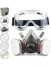 RHINO Smart Solutions - Gezichtsbescherming (halfzijdig) anti-stof herbruikbaar met bril, handschoenen, 6 deeltjesbeschermingsfilters voor industrieel schilderen, gas, bescherming, knutselen, lakken, stomen.