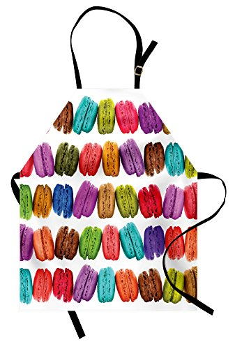 Ambesonne Colorful Apron, French Macarons in a Row Coffee Shop Cookies Flavours Pastry Bakery Food Design, Unisex Kitchen Bib Apron with Adjustable Neck for Cooking Baking Gardening, White Multi