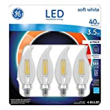 GE Candelabra LED Light Bulb 3.5-Watt Dimmable 2700K Soft White 40-Watt Equivalent 300-Lumens Chandelier Long-Life Low-Energy Decorative Clear Finish 4-Pack