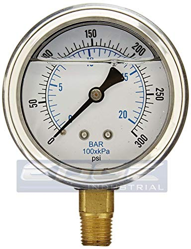 NEW STAINLESS STEEL LIQUID FILLED PRESSURE GAUGE WOG WATER OIL GAS 0 to 300 PSI LOWER MOUNT 0-300 PSI 1/4