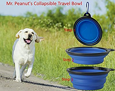 Collapsible Dog Bowls by Mr. Peanut's, Dishwasher Safe BPA FREE Food Grade Silicone Portable Pet Bowls, Perfect Foldable Travel Bowls for Journeys, Hiking, Kennels & Camping