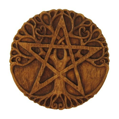 Tree Pentacle Plaque Wood Finish - Pentacle Wall