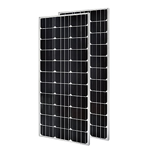2 Pieces of HQST 100 Watt 12 Volt Monocrystalline Solar Pane