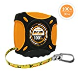 DuraDrive 100 ft./30m Nylon Coated Steel Blade E-Z Grip Closed Case Imperial/Metric Tape Measure, with Folding Rewind Crank