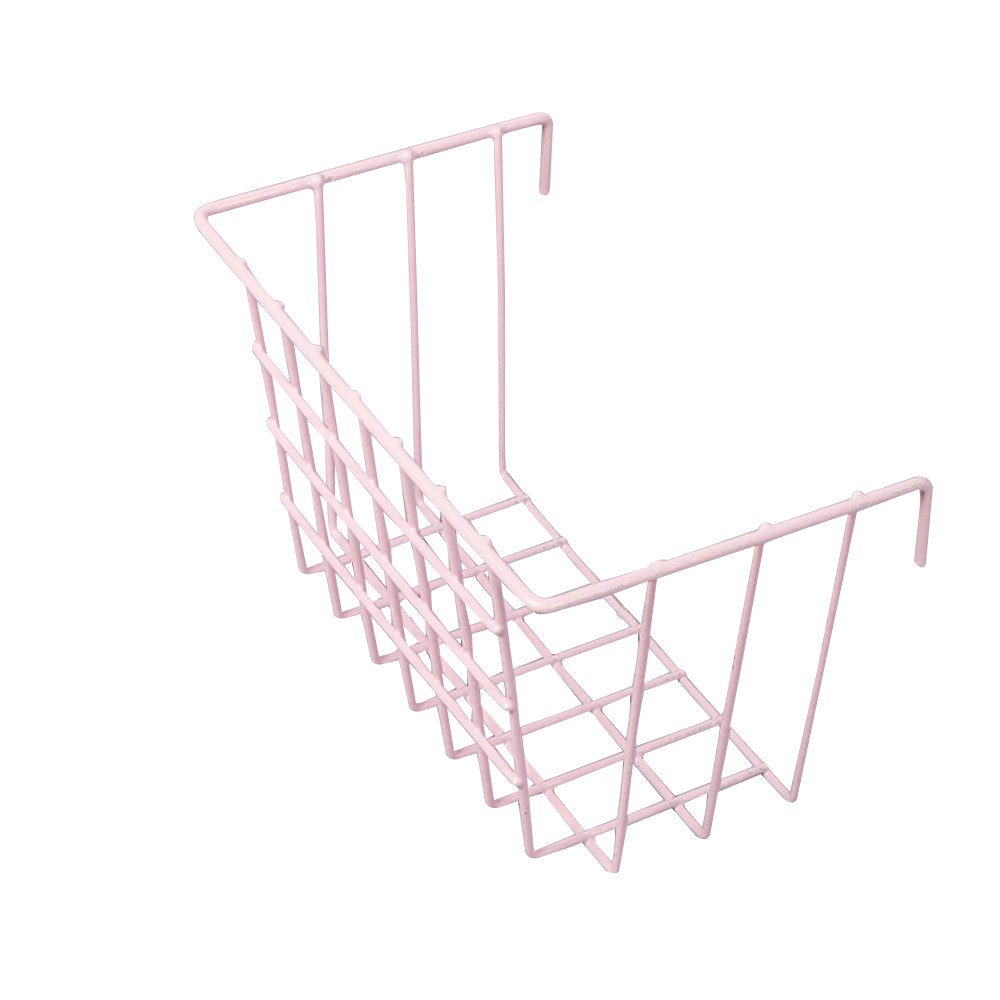 Pink Wire Hanging Basket Grid Panel Wall Mountable Flower Pot Ornaments Display Shelf Rack for Bathroom, Kitchen, Living room, Balcony, Bedroom, Store Size 7.48 x 4.52 x 5.9/19cm x 11.5 x 15cm Koopon