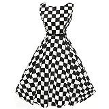 Womens Dresses Boatneck Sleeveless Vintage Tea Dress Belt 1950s Retro Cocktail Swing Party Dress by Chaofanjiancai Black