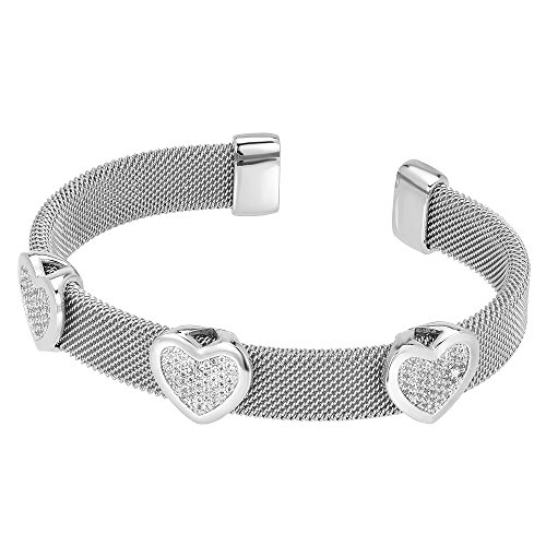 Three Bezel Set Pave CZ Hearts Charm Mesh Silver Tone Cuff Bangle ()