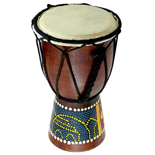 6'' Wooden Djembe Doumbek Darbuka Hand Drum Egyptian Design - Pattern May Vary by WOOGEES