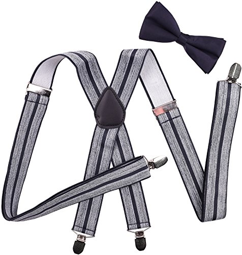 Gray Stripe Tie (Adjustable Suspenders and Pre Tied Bowtie Set for Mens Pant Strap Gray Black Stripe)